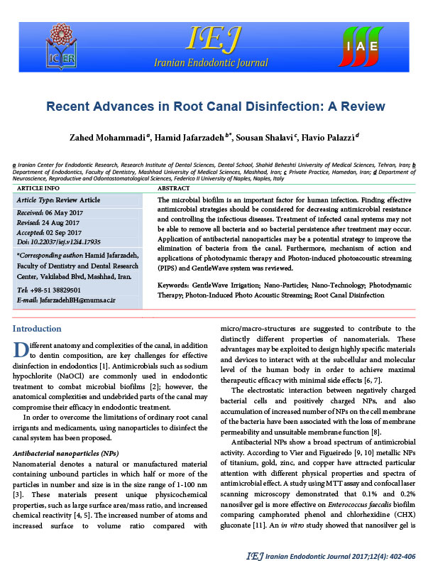 A Review of Recent Advances in Root Canal Disinfection